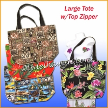 Large Hawaiian Print Tote Bag w/Top Zipper