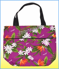 Large Reversible Hawaiian Print Tote Bag - 111Lavender
