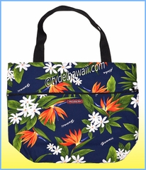 Large Reversible Hawaiian Print Tote Bag - 113Navy