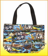 Large Reversible Hawaiian Print Tote Bag - Large Reversible Hawaiian Print Tote Bag - 201Blue