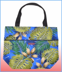 Large Reversible Hawaiian Print Tote Bag - 502Navy