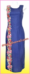 Pink Orchid Hawaiian Paradise Dress - Navy