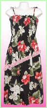 Mid-Length Hawaiian Smock Dress - 466Black