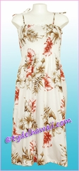 Mid-Length Hawaiian Smock Dress - 417White
