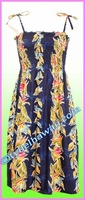 Full Length Hawaiian Smock Dress - 163Navy