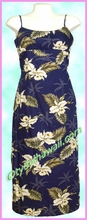 Garden Orchid Hawaiian Long Sun Dress - Navy