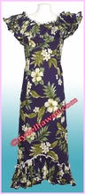 Garden Hibiscus Hawaiian Elegant Dress - Navy