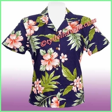 Hawaiian Lady Blouse - 403Navy/Pink Flower