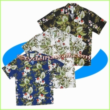 Orchid & Leaf Panel Hawaiian Shirt