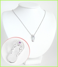 Plumeria Slipper Silver Necklace