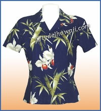 Rayon Hawaiian Lady Blouse - 318Navy