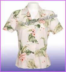 Rayon Hawaiian Lady Blouse - 812White/Pink flower