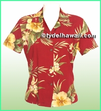 Rayon Hawaiian Lady Blouse - 820Red