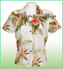 Rayon Hawaiian Lady Blouse - 820White