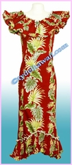 Tropical Leaf Panel Hawaiian Elegant Dress - Red