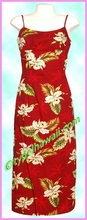 Garden Orchid Hawaiian Long Sun Dress - Red