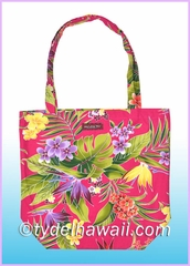 Reusable Hawaiian Print Grocery Tote Bag - 121Pink