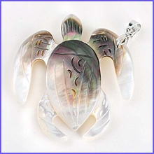 Sea Turtle Mother of Pearl Shell Pendant