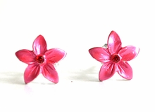 Small Enamel Plumeria Stud Earrings - Hot Pink