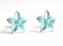 Small Enamel Plumeria Stud Earrings - Light-Blue