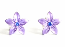 Small Enamel Plumeria Stud Earrings - Purple