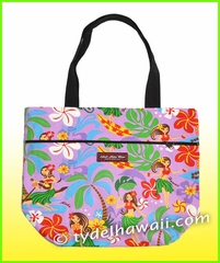 Small Hawaiian print Reversible tote Bag - 313Purple