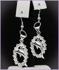 Solid Silver Dolphin w/Lei Earrings