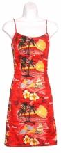 Sunset at Paradise Hawaiian Sun Dress - Red