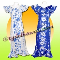Tropical Floral Panel Hawaiian Elegant Dress - 4340