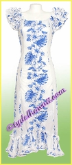 Tropical Floral Panel Hawaiian Island Dress - White