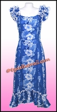 Tropical Floral Panel Hawaiian Island Dress - Navy