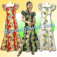 Tropical Leaf Panel Aloha Classic Dress - 438