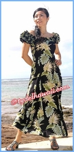 Tropical Leaf Panel Classic Aloha Dress - 438Black