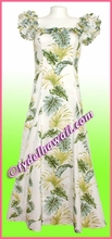 Tropical Leaf Panel Classic Aloha Dress - 438White