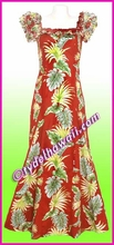 Tropical Leaf Panel Classic Aloha Dress - 438Red