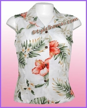 Hawaiian Sleeveless Blouse - 466White