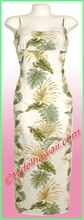 Tropical Leaf Panel Hawaiian Long Sun Dress - White