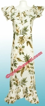Garden Hibiscus Hawaiian Elegant Dress - White