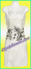 White Hibiscus Hawaiian Tank Dress - White/Black