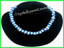 White & Blue Chips Puka Shell necklace