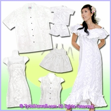 White Hawaiian Wedding dress & Hawaiian wedding shirt