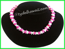 White & Pink Chips Puka Shell Necklace