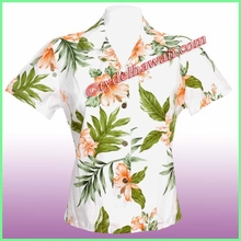 Hawaiian Lady Blouse - 403White/Pink Flowers