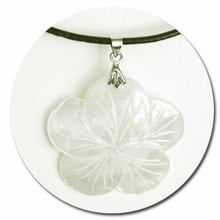 White Plumeria Mother of Pearl Sea Shell Necklace