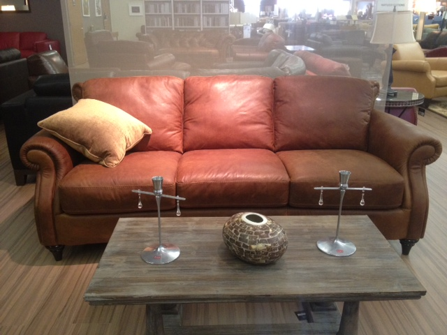 A297 Natuzzi Editions Distressed Leather Sofa