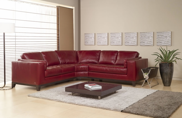 A355 natuzzi editions leather sectional sofa for Natuzzi red leather sectional sofa
