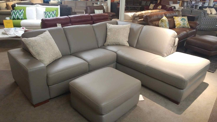 A397 Natuzzi Sectional Sofa in Dream Grey Leather