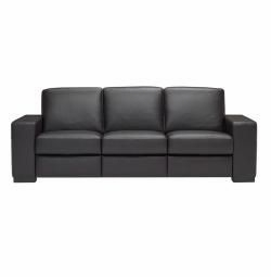 A397 Sofa in 1576 Lemans Black Leather by Natuzzi