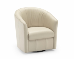 A835 Barrel Swivel Chair in 15CU Lemans Mastice Leather by Natuzzi