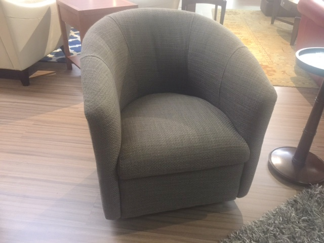 A835 Swivel Chair by Natuzzi in Grey Fabric & A835 Swivel Chair by Natuzzi in Grey Fabric - Natuzzi Editions